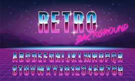 Background and font in style arcades the 80s. Vector illustration. Background and font in style arcades the 80s. Music poster template. Vector illustration Royalty Free Stock Images