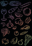 Background food. Black background with gradient colored food symbols Royalty Free Stock Photography