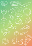 Background food. Gradient colored background with white food symbols. Useful as background for menu cards etc Stock Images