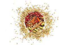 Background food concept various spice bay leaves, chili, coriander seed. cardamom pods and fennel seeds on white background royalty free stock photos