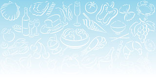 Background with food symbols. Lightblue gradient background in landscape format with white food symbols. Available as Illustrator-file Stock Image