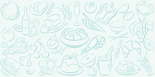 Background with food symbols. Lightmint colored background in landscape format with mint colored food symbols. Available as Illustrator-file Stock Photo