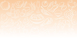 Background with food symbols. Orange gradient background in landscape format with white food symbols. Available as Illustrator-file Royalty Free Stock Photography
