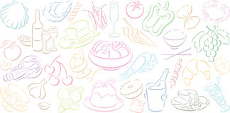 Background with food symbols. Whitw background in landscape format with multicolored food symbols. Available as Illustrator-file Royalty Free Stock Photos