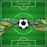 The background of a football field with ball in center Stock Images