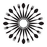 Background with Forks, Spoons end Knifes. Vector Stock Photos