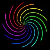 Background in the form of a color rainbow spiral on a black background vector illustration