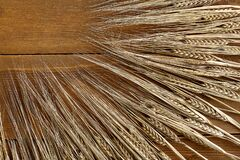 Background in the form of diagonally arranged ears of rye on wooden boards