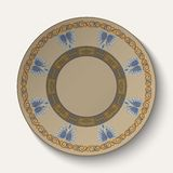 Background in the form of plate with an ornament in the ancient Greek style. Royalty Free Stock Images