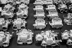 Background formed by spare parts of vintage cars. Royalty Free Stock Photo