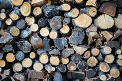 Background formed by a woodpile. Royalty Free Stock Photos