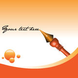 Background with fountain pen. Colorful illustration with orange bubbles and fountain pen writing a text stock illustration