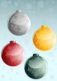 Background with four New-Year balls Royalty Free Stock Photo