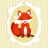 Background with fox. Vector illustration Stock Photos
