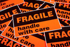 Background of fragile stickers Royalty Free Stock Photo