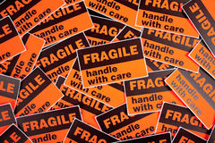 Background of fragile stickers Stock Photo