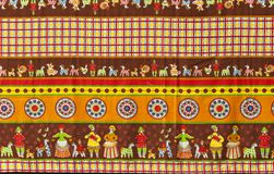 Fragment of tablecloth in traditional Russian folk style Royalty Free Stock Photo