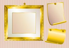 Background with frame. Background with gold frame and gold papers stock illustration