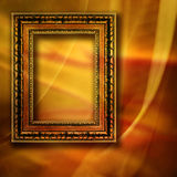 Background with frame. Orange drapery background with empty frame vector illustration