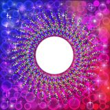 Background frame abstract bright neon mosaic circle Stock Photography