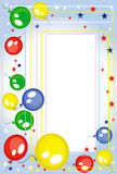 Background-frame with balloons. Background with balloons and stars Stock Photo