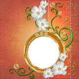 Background with frame, daisy, golden elements Stock Images