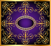 Background with frame and east gold(en) pattern Royalty Free Stock Photography
