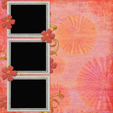 Background with frame and flowers Royalty Free Stock Photos
