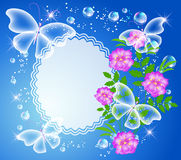 Background with frame, flowers and butterfly Stock Images