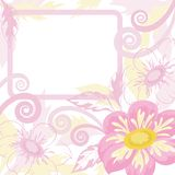 Background with frame and flowers dahlia Royalty Free Stock Photos