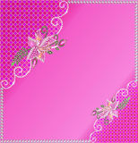Background frame with flowers made of precious stones and Stock Photos