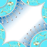 Background frame with flowers made of precious stones wit Royalty Free Stock Photo