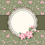 Background  with frame and flowers. Stock Photos