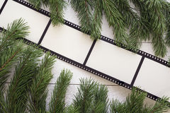 Background with a frame in the form of a film and pine branches Royalty Free Stock Photos