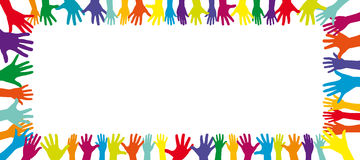 Background of a frame full of hands. Background of a frame full of a lot of different colorful hands Royalty Free Stock Photo