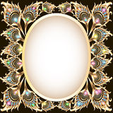 Background frame with gold ornament in the form of a peacock fe. Illustration background frame with gold ornament in the form of a peacock feather and jewels royalty free illustration