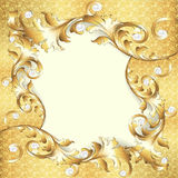 Background frame with gold ornaments and pearls Royalty Free Stock Photography