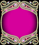 Background frame with gold and precious stones Stock Images