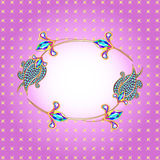 Background frame with gold and precious stones. Illustration background frame with gold and precious stones Stock Image
