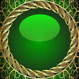 Background frame green. Illustration background frame green with gold(en) pattern Stock Illustration