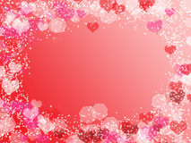 Background with frame from hearts and bokeh Royalty Free Stock Photos