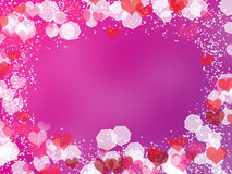 Background with frame from hearts and bokeh. Abstract Valentine's day background with frame from hearts and bokeh stock illustration