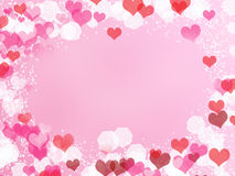 Background with frame from hearts and bokeh Royalty Free Stock Images
