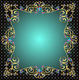 Background frame with jewels of gold ornaments Stock Photos