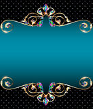 Background frame with jewels of gold ornaments Stock Images