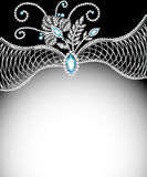 Background frame with jewels of  silver ornaments Royalty Free Stock Photo