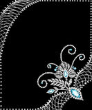 Background frame with jewels of  silver ornaments Stock Photo