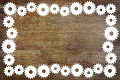 Background with frame made of cogwheels Stock Photo
