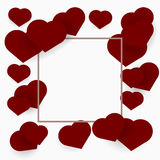 Background with frame made of hearts for your design Royalty Free Stock Photo