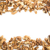 Background frame made of walnuts. Frame made of walnuts over white background Royalty Free Stock Photo